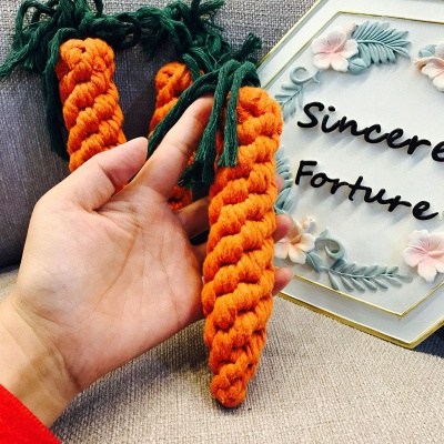 Teeth Grinding Cotton Rope Pet Dog Toy Carrot Cotton Rope Knot Toy Hand Knitting Teeth Cleaning Pet toy_2