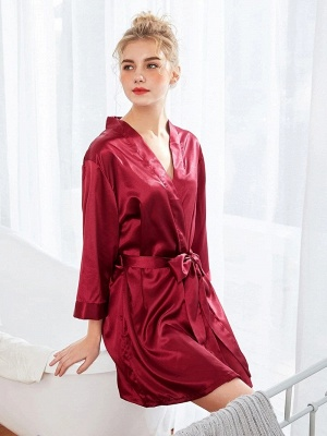 Women's Fashion Bathrobe Belt Nightgown_1