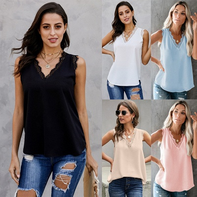 Women's Fashion Sleeveless Lace Chiffon Top_4