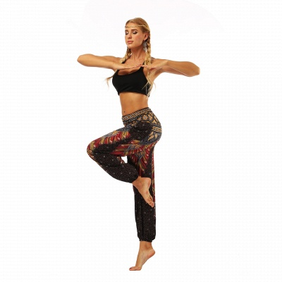 Printed Long Sports Loose High Waist Exercise Yoga Pants_5