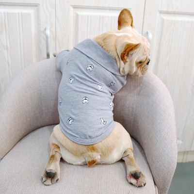 Gray Short Sleeve Dog T-shirt With Collar For small Puppy_2
