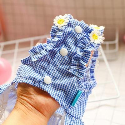 Summer Blue Sleeveless Grid Lace Dog Skirts_5