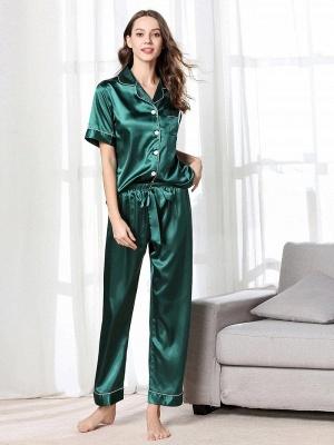 Imitate Short Sleeves Silk Pajamas_2