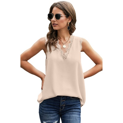 Women's Fashion Sleeveless Lace Chiffon Top_1