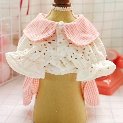 Adorable Pink Grid Short Sleeve Pet Skirt Covered Belly_5