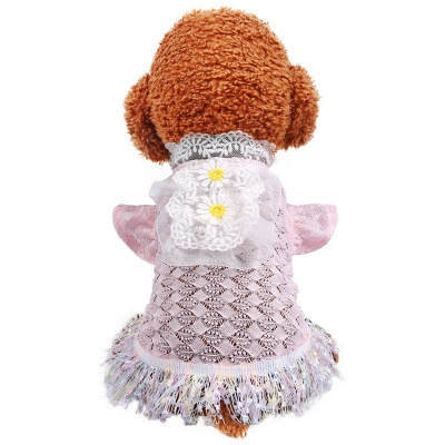 New Arrive Pet Dog Lace Flower Princess Dress | Cat Puppy Tulle Skirt Clothes_4
