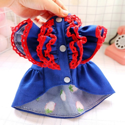 Dark Navy Bubble Sleeve Small Dog Skirts With Pattern_5