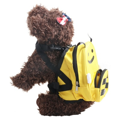 Cute Cartoon Bee-Shaped Pet Backpack for Small Dogs Puppy_2