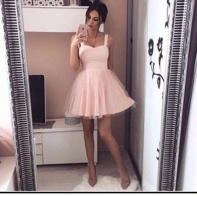 A-Line Mini  Straps Simple Pink Cheap Homecoming Dresses_3
