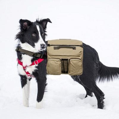 Dog Backpack Hiking Harness Canvas Saddle Bag Adjustable Straps_2