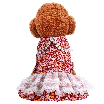Lovely Short Sleeve Floral Dog Skirts | Pets Cloth With Ruffles_4