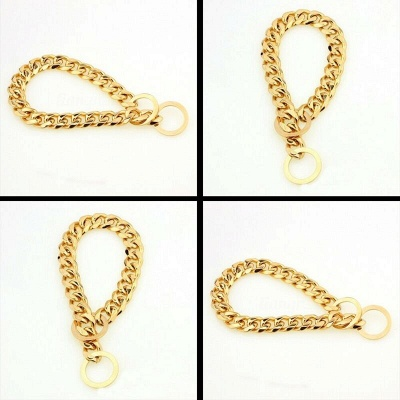 Stainless Steel Chain Dog Collar Big Gold Plated Curb Training Walking Slip Link_5