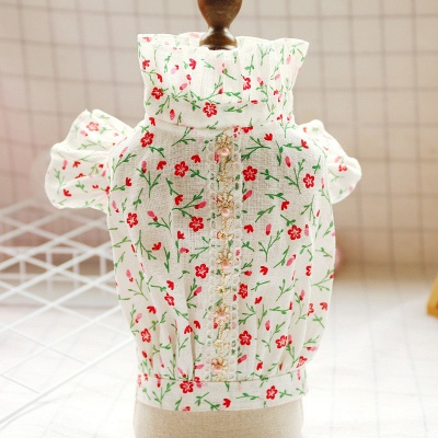 Floral Pink Dog Cat Skirt Tutu Bow Dress For Small Dog Female Girls Summer Shirt Clothes