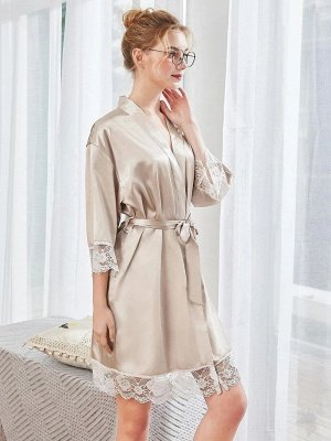 Sexy Imitation Silk Belt Bathrobe Nightgown_1