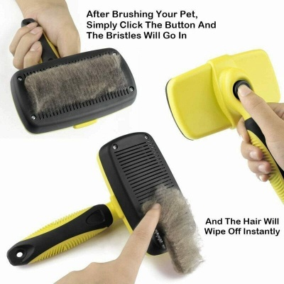 Self Cleaning Dog Cat Slicker Brush Grooming Brush Comb Shedding Tool Hair Fur_5