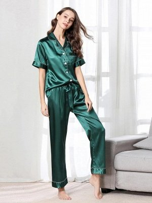 Imitate Short Sleeves Silk Pajamas