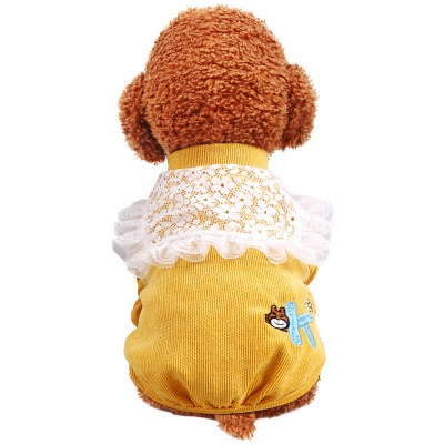 Cute High Neck Short Sleeve Ruffles Dog Cloth With  Pattern For Small Dog_5
