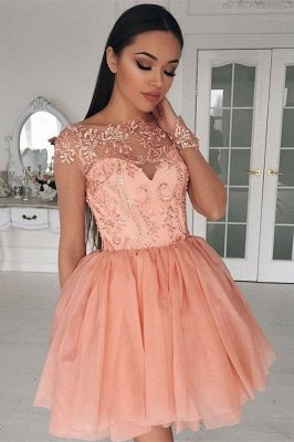 Coral Homecoming Dresses Lace Appliques Beaded Puffy Short Prom Dresses_2