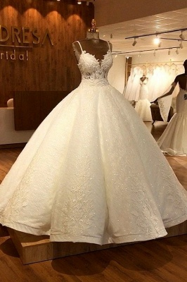 Stunning Ball Gown Wedding Dresses | Spaghetti Straps Lace Bridal Gown_1