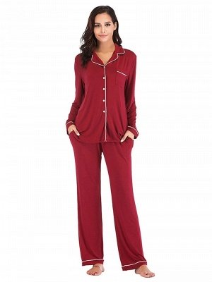Women's Sleepwear Sets Imitate Silk Pajamas_1