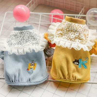 Cute High Neck Short Sleeve Ruffles Dog Cloth With  Pattern For Small Dog_1
