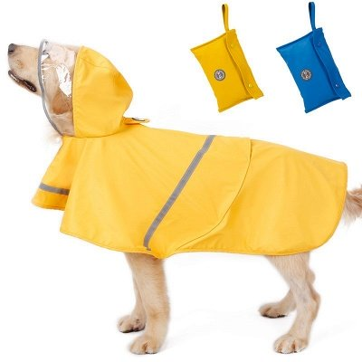 Blue Waterproof Hoody Reflective strip Dog Raincoat | Jacket Pet Clothes_5