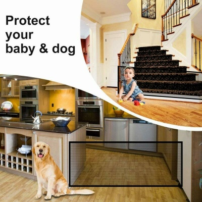 Magic Pets Dog Cat Baby Safety Gate Mesh Fence Portable Guard Net Stairs Doors_4