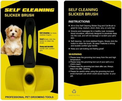 Self Cleaning Dog Cat Slicker Brush Grooming Brush Comb Shedding Tool Hair Fur_7