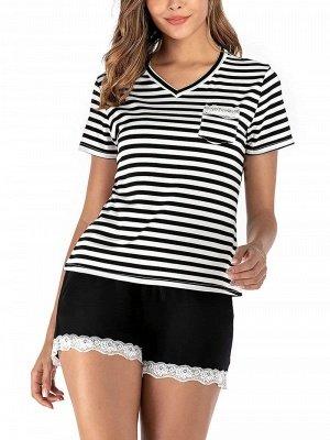 Soft Pajamas Set Casual Summer Home Clothes_1
