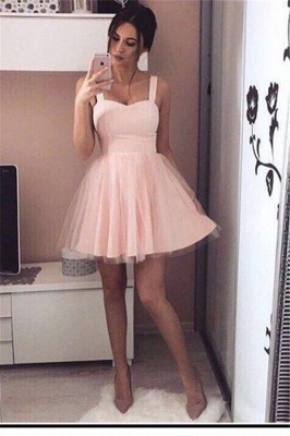 A-Line Mini  Straps Simple Pink Cheap Homecoming Dresses_2