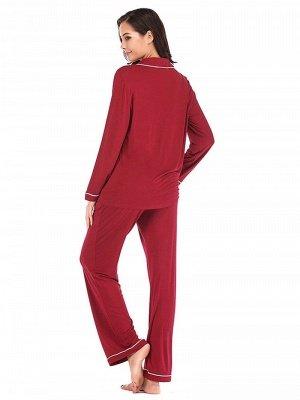 Women's Sleepwear Sets Imitate Silk Pajamas_2