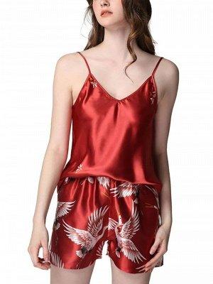 Sexy Spaghetti Straps Imitate Silk Pajamas Set