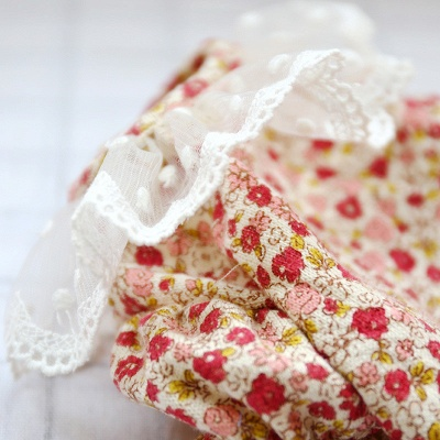 Cute Short Sleeve Floral Lace Puppy Skirt_5