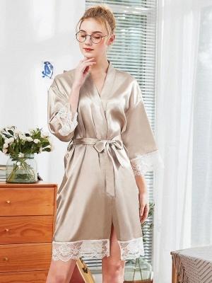 Sexy Imitation Silk Belt Bathrobe Nightgown_4