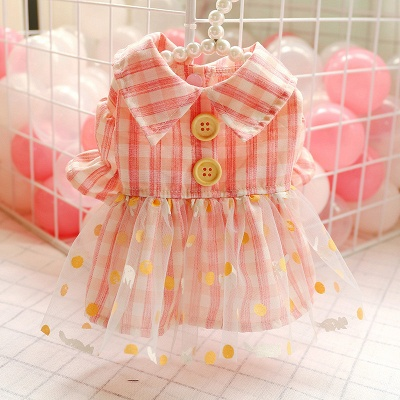 Grid Short Sleeve Girl Dog Skirt With Collar For Small Puppy_2