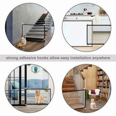 Magic Pets Dog Cat Baby Safety Gate Mesh Fence Portable Guard Net Stairs Doors_5