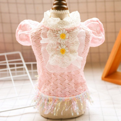 New Arrive Pet Dog Lace Flower Princess Dress | Cat Puppy Tulle Skirt Clothes