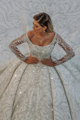 Glamorous Off The Shoulder Backless Long Sleeve Crystal Sequin Ball Gown Wedding Dresses_1