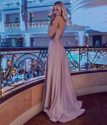 Halter Sleeveless Criss-cross Back Side Slit Floor Length Mermaid Prom Dresses_3