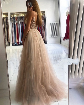 Spaghetti Strap Sweetheart Backless Crystal Floral Front Slit Tulle A Line Prom Dresses_4