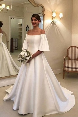 Gorgeous Off The Shoulder Backless A Line Wedding Dresses With Sweep Train_1