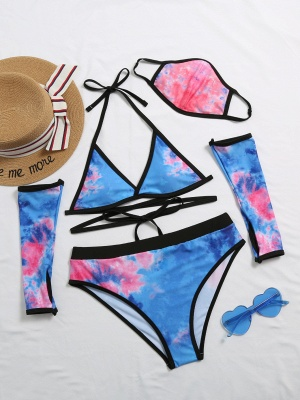 Blue V Neck Two Pieces Swimsuit With Matching Mask