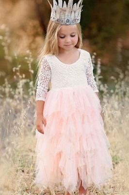 Cute Long Sleeves Jewel Tea Length Lace Tulle Flower Girl Dresses_1