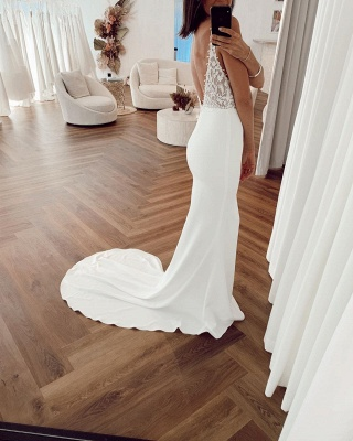 Sexy Straps Deep V Neck Applique Mermaid Wedding Dresses | Backless Bridal Gown_2