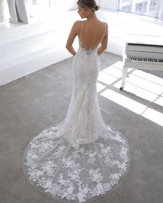Simple Style Spaghetti Strap V Neck Applique Detachable Skirt Lace Sheath Wedding Dresses_3
