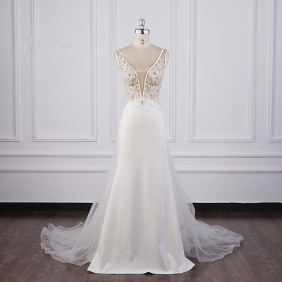 Graceful Sleeveless V Neck Tulle Beading Wedding Dresses With  Lace Appliques_1