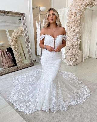 Unique Sweetheart Off The Shoulder Lace Mermaid Wedding Dresses_2
