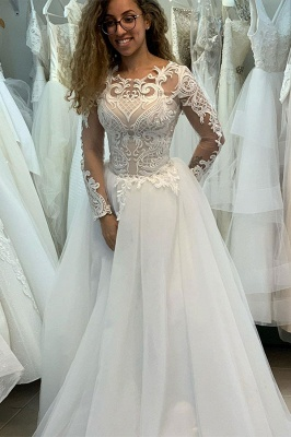 Elegant Jewel Long Sleeve Full Back Lace Pleated A Line Wedding Dresses_2