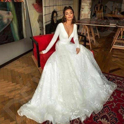 Elegant Long Sleeve V Neck A Line Wedding Dresses | Lace Wedding Gown_6