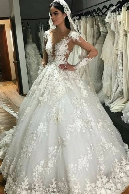 Luxury Jewel Long Sleeve Floral Ball Gown Wedding Dresses | Backless Floor Length Wedding Gown_1